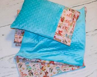 Toddler Girl Nap Mat - Woodland Creatures - Nap Mat with Pillow and Blanket - Kids Nap Mat - Preschool Nap Mat - Toddler Nap Mat - KinderMat