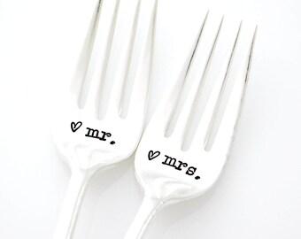 Mr and Mrs Stamped Wedding Forks. Vintage wedding gift idea. Keepsake Silverware.