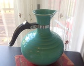 Vintage Bauer California Style Carafe, Bakelite Handle Water Pitcher, Aqua Ring Ware