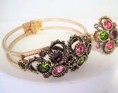 Austrian Lites Bracelet Ring - Sarah Coventry - Purple Peridot Pink  Rhinestone - Hinged Bangle - Expandable Ring