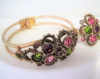 Austrian Lites Bracelet Ring - Sarah Coventry - Purple Peridot Pink  Rhinestone - Hinged Bangle - Expandable Ring
