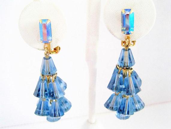 Blue Lucite Cha Cha Earrings  - AB Rhinestone Lobe - Vintage Clip Ons