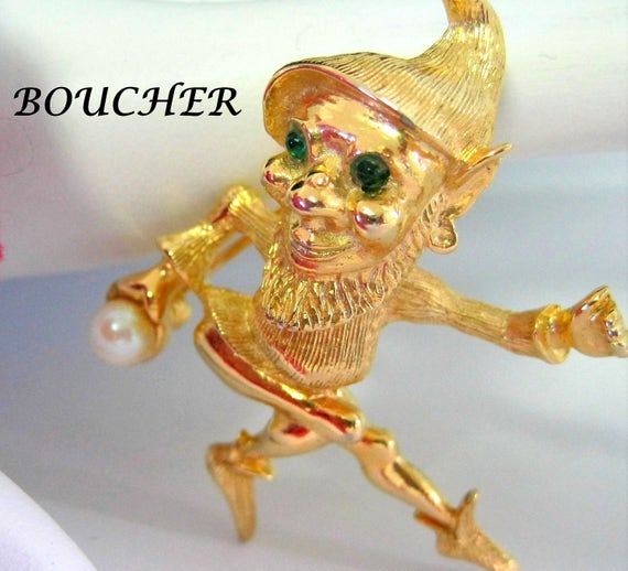 Marcel Boucher Brooch - Vintage Elf Pixie -  Signed Boucher 7458 - Green Eyed Pin