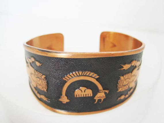 Native American Cuff - Solid Copper -  Kachina Bracelet - Mid Century Designs