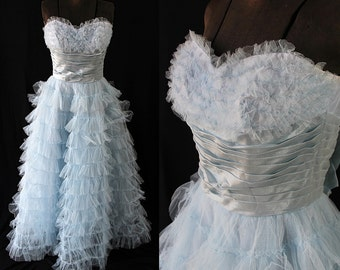 50s Lori Deb Dress, Prom, Vintage Wedding,  Blue Tulle