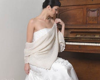 SALE!!! -30% BRIDAL SHAWL, wedding wrap silk and baby alpaca, soft and silky, evening cover