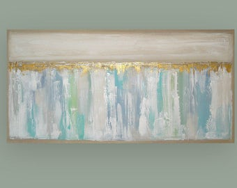Original Abstract Art, Large, Pastel Painting, Original Abstract, Acrylic Paintings, Canvas by Ora Birenbaum Titled: Freelance 2 30x60x1.5""