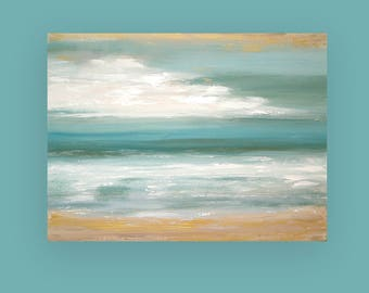 "Ocean Seascape Acrylic Abstract Painting Titled: Windswept Shores 30x40x1.5"" by Ora Birenbaum"