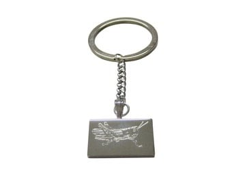 Silver Toned Etched Grasshopper Locust Insect Keychain