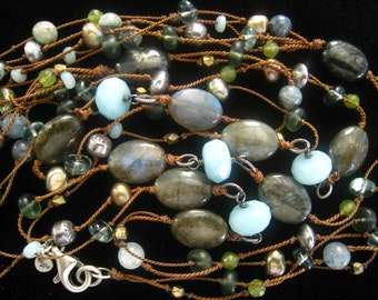 """SALE SILPADA 40"""" Beaded & Sterling Necklace. Labradorite Oval Tablets. Smoky Olive Pearls. Faceted Aqua Stones. Others. Silpada Logo Tag."""