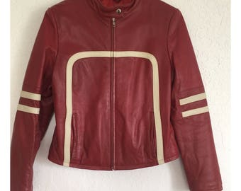 Vintage Wilsons Leather Maxima Red With White Stripes Motorcycle Jacket M