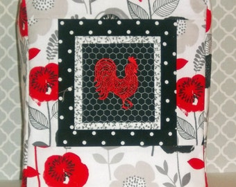 Red Rooster Mixer Cover, Red Black and White Mixer Cover, Kitchenaid Mixer Cover, Quilted Mixer Cover