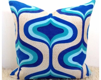 "Vintage Blue Psychedelic Fabric Cushion Cover 16"" x 16"" Retro Throw Pillow"