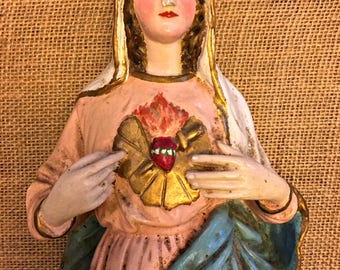 Rare Large Antique French 19.75 inch tall, Sacred Heart of Mary Chalkware Statue, Immaculate Heart Church Statue