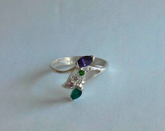 925 Sterling Silver Multicolor Gemstones Ring