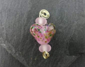 Mini heart lampwork bead set