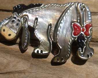 """Zuni Inlay Cartoon Character """"Eyore"""" Pin/Pendant From The 1980's By Andrea Lonjose Shirley"""