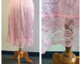 Vintage Lingerie, 1980's Vintage Lingerie, Light Pink Nylon Tricot Half Slip, Vassarette Brand, Nylon Tricot, Ladies Size Large #056