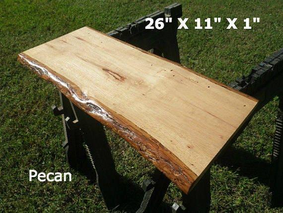 Live edge pecan finished wood slab bar top diy desk natural for Finished wood slabs