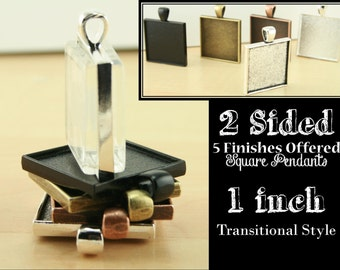 10 Square PENDANT STYLE Two Sided, Double Sided, 1 inch Bezel Tray - 2 Sided Charm Optional 20 ...