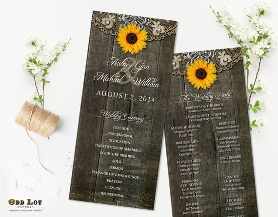 rustic sunflower wedding programs rustic ceremony program country