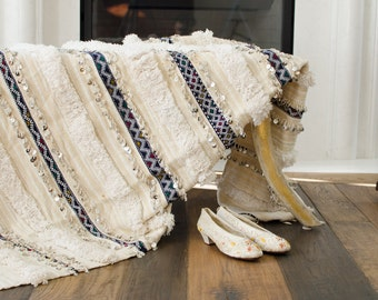 Vintage Moroccan Wedding Blanket Silver Sequin Throw Handira Bedspread Wedding Gift Bride