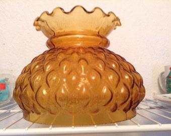 HURRICANE LAMP Shade Honeycomb pattern AMBER Large Tall Lighting Fixture Pressed Vintage Glass Fixture