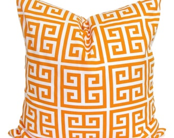 ORANGE PILLOWS.16x16 inch.Orange Pillow Cover.Greek Key.Decorative Pillows.Cover.Orange Throw Pillow.Orange Pillow.Cushion.Tangarine.Toss.cm