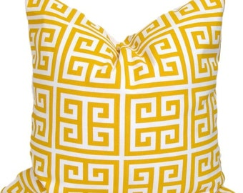 YELLOW OUTDOOR PILLOW.Indoor.24x24 inch.Pillow Cover.Decorative Pillows.Throw Pillow Cover.Yellow Outdoor Cushion.61 cm.Yellow Greek Key