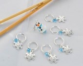 Winter Theme Snow Flake Stitch Markers and Snowman Progress Keeper Set Knitting Notions Gift Ideas Holiday