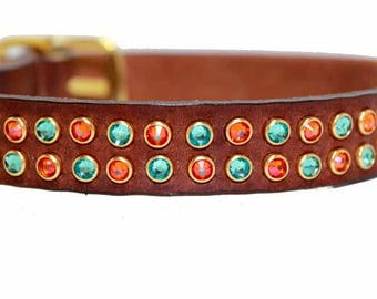 Swarovski Crystal Dog Collar / Leather Dog Collar / Chevron Dog Collar / Turquoise Dog Collar / Waterproof Option for Summer Swimming