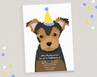 Yorkie Birthday Invitation - Children's Puppy Dog Birthday Invite