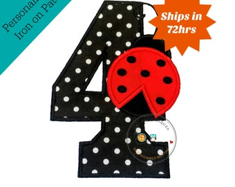 Red lady bug birthday number 4 iron on applique- black and white poka dots and red lady bug machine embroidered fabric no sew patch-DIY
