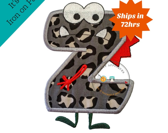 Monster letter Z applique, initial embroidered patch, bright iron on applique letter, iron on letter embellishment, iron on monogram patch