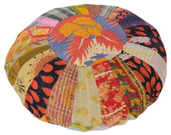 Vintage Kantha Patchwork Pouffe Cover Pouf Floor Cushion DV72