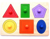 Montessori shape puzzle - developing wooden puzzle with shapes
