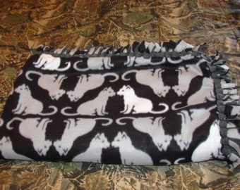 CAT black Double Sided Fleece Blanket, no sew tied blankets, infant baby toddler, cats tabbys feline, baby shower gifts, girls gift, tabby