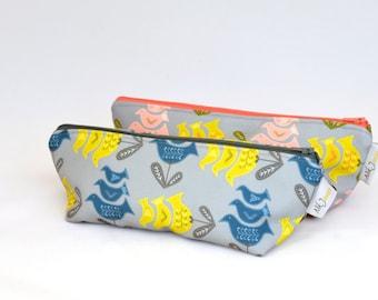 Triangle Zipper Pouch - Lucky Bird Print
