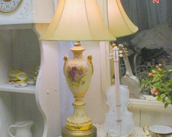 Vintage Lamp Roses Florals Ceramic Shabby Chic Romantic French Country Cottage