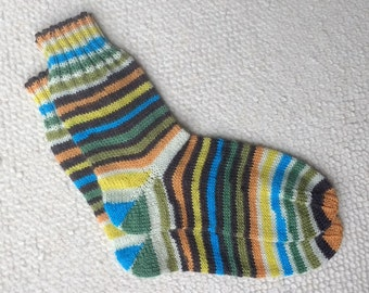 Hand knitted woman wool socks, UK 3-4 US 4-5