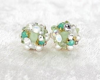 Mint Bridal Earrings- Cluster Earrings- Art Deco Bridal Studs- Mint Green Earrings- Mint Vintage Inspired Studs-Brass Boheme