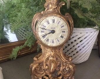 Antique Louis XV Mantle Clock Spelter Rococo Mantle Clock
