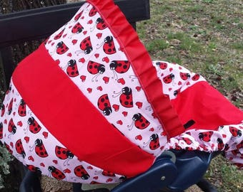 Ladybug baby car seat cover infant seat cover slip cover Graco Red and pink ladybug universal