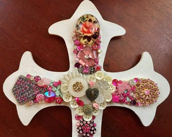 Beautiful Handcrafted PINK & WHITE Jeweled Cross Sculpted Vintage Jewelry - Wall Art - Shabby Chic Pink Cross