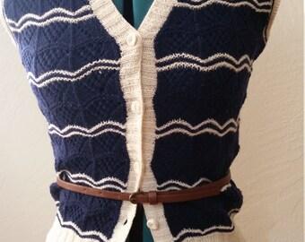 Vintage hand knit sweater vest   Blue wool sweater vest   Vest XS, S   Vintage Wool Vest Women