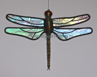 Stained Glass DRAGONFLY Suncatcher, Northern Lights Clear Rainbow Iridescent Wings & Hand-Cast Metal Body, USA Handmade, Glass Dragonfly
