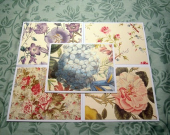 Vintage Floral Handmade Note Cards Thank You Cards Set of 5 with Envelopes