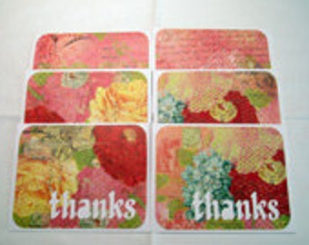 Handmade Note Cards Thank You Cards Set of 6 with Envelopes