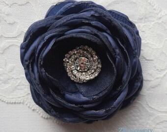 Navy blue bridal hair flower, navy blue flower shoe clip, bridesmainds hair accessories, sew on ornaments, handmade Wedding dress brooch