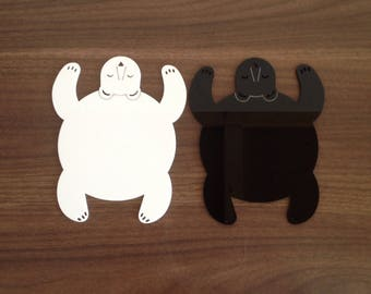 Set of two bear rug coasters